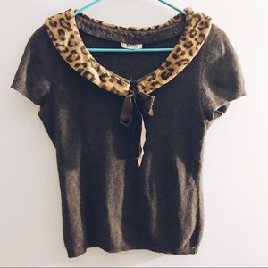 Vintage Moschino Cheetah Collar Sweater Top
